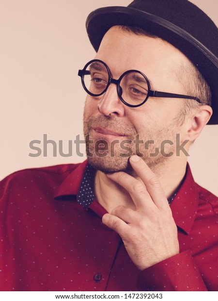 Funny Guy Wearing Eyeglasses Fedora Hat Stock Photo Edit Now