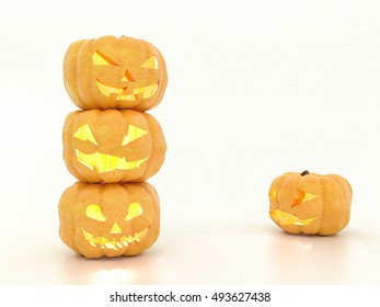 Funny halloween pumpkin climbed on each other. Pumpkins play and fool around. Image for Halloween holiday theme. On white isolated background with reflection. High-resolution 3d illustration