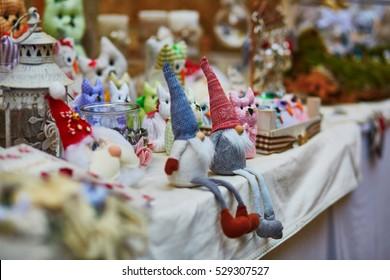 Funny handmade gnomes on market in Italy