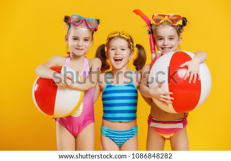 4c86a14437 Funny Funny Happy Children Jumping Swimsuit Stock Photo (Edit Now ...
