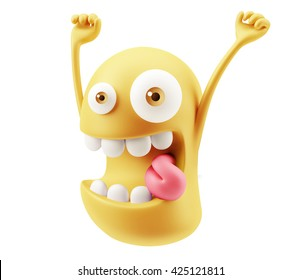 Funny Happy Emoticon Face Raising Hands 3d Rendering.