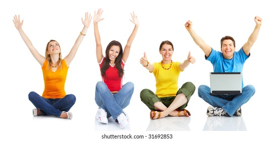 Funny happy man with laptop and girls. Isolated over white background