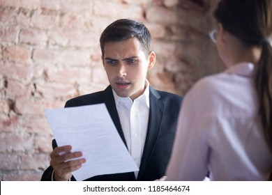 Funny HR manager is dissatisfied with resume of female applicant. Skeptic man is unpleasantly surprised by no good candidate cv. Failed interview. Hiring, staff recruiting process, scam