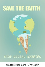 Funny illustration of the global warming: a thawing earth-ice cream with writings. Digital illustration