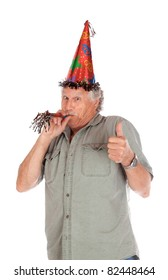A funny image of an older gentlemen partying for his birthday.  He is giving a thumbs up.  Image is isolated on white.