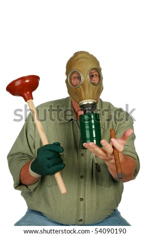 funny image plumber gas mask toilet stock photo edit now 54090190