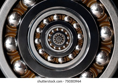 Funny incredible unrealistic surreal industrial Ball Bearing spiral abstract pattern background Spiral machinery abstract surreal pattern background Spiral effect technology Ball bearing Inside itself