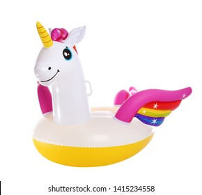 Funny inflatable unicorn ring isolated on white
