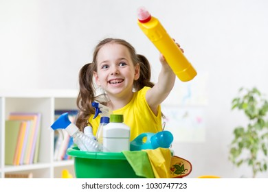 Funny kid girl ready to room cleaning