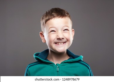 Funny Kid Little Boy Ugly Grimace Child Close Up Portrait