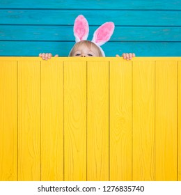 Funny kid wearing Easter bunny. Child holding wooden board banner. Spring holidays concept