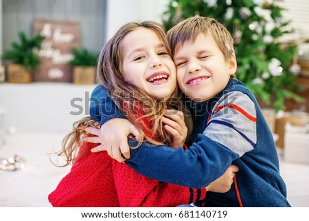 funny kids hugging boy girl happy stock photo edit now 681140719
