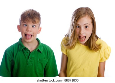Funny kids with silly expressions on their face.