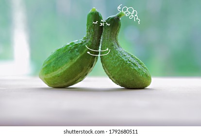 funny kissing cucumbers. cartoon characters in love. paint art on a vegetables. love and togetherness concept. cuddling cuccumbers. selective focus.
