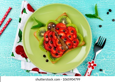 Funny ladybug face sandwich for kids snack food. Creative breakfast idea for kids