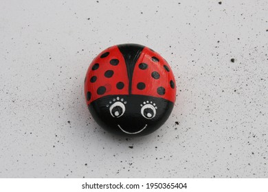 funny ladybug as painted pebbles