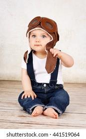 Funny little baby  boy pilot