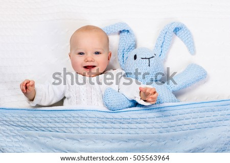 1434a16c3dda Funny Little Baby Wearing Warm Knitted Stock Photo (Edit Now ...