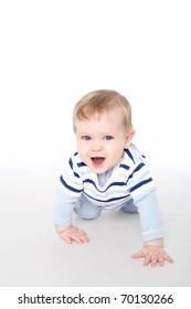 Funny little boy on the floor