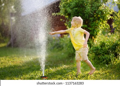 Funny little boy playing with garden sprinkler in sunny backyard. Preschooler child having fun with spray of water. Summer outdoors activity for kids.