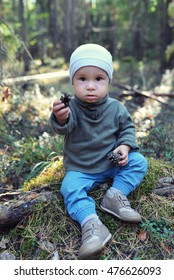 Funny little boy playing with pine cones sitting on the floor