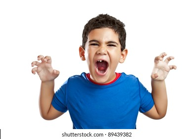 Funny little boy roaring isolated on a white background