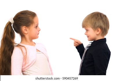 Funny little boy teaches the girl