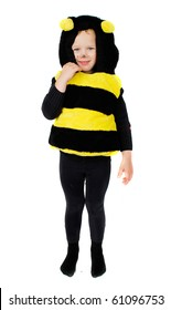 Funny little girl in bee costume isolated on the white background. Nice photo for Halooween party.