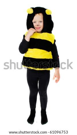 Funny Little Girl Bee Costume Isolated Stock Photo Edit Now