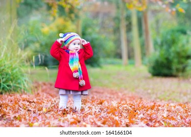 Funny little toddler girl wearing a warm coat and colorful knitted hat and scarf playing in a beautiful autumn park with red leaves
