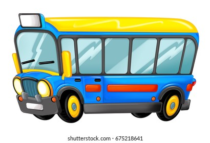 funny looking cartoon bus - illustration for children