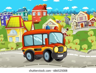 funny looking cartoon fireman bus driving through the city - illustration for children