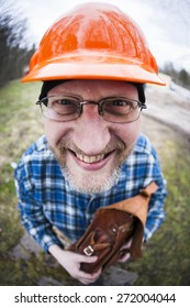 Funny looking engineer photographed by a fish-eye lens