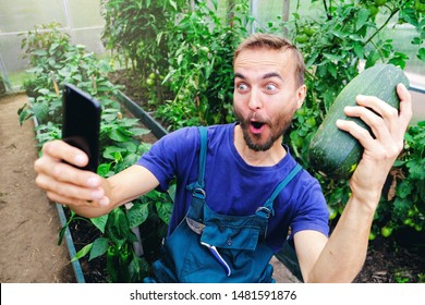 Funny male farmer making selfie on smartphone with fresh harvested vegetables in his greenhouse.