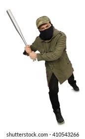 Funny man with baseball bat isolated on white