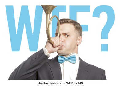 Funny man in blue bow tie blowing into the trumpet with title