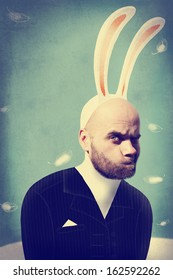 Funny man in a bunny suit. Vintage  concept card