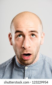 funny man portrait real people high definition grey background