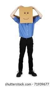 Funny man put on his head a box