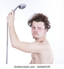 funny man in the shower