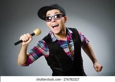 Funny man singing in karaoke