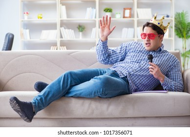 Funny man singing songs in karaoke at home
