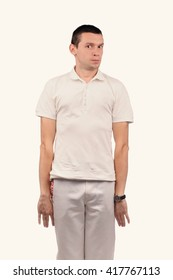 Funny man in white shirt with different emotions
