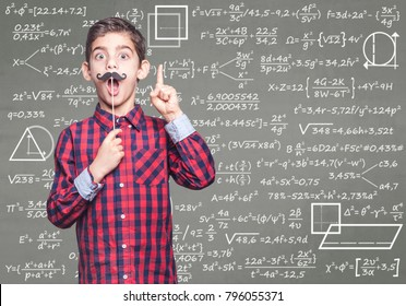 Funny math genius kid. Education concept