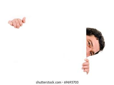 Funny mature man holding a blank billboard