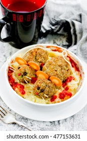 Funny meatball scary mouse Halloween party decoration food selective focus