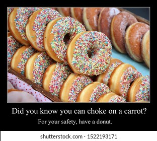 Funny meme for social media sharing. Choking hazard and donuts meme.