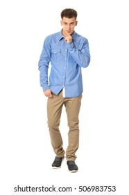 Funny men dressed in blue shirt with emotion