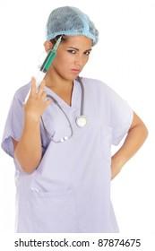 funny menacing nurse holding huge needle