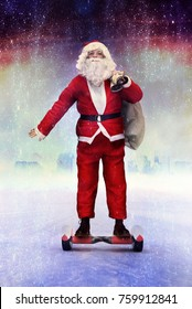 funny modern Santa Claus on hoverboard for Christmas delivey